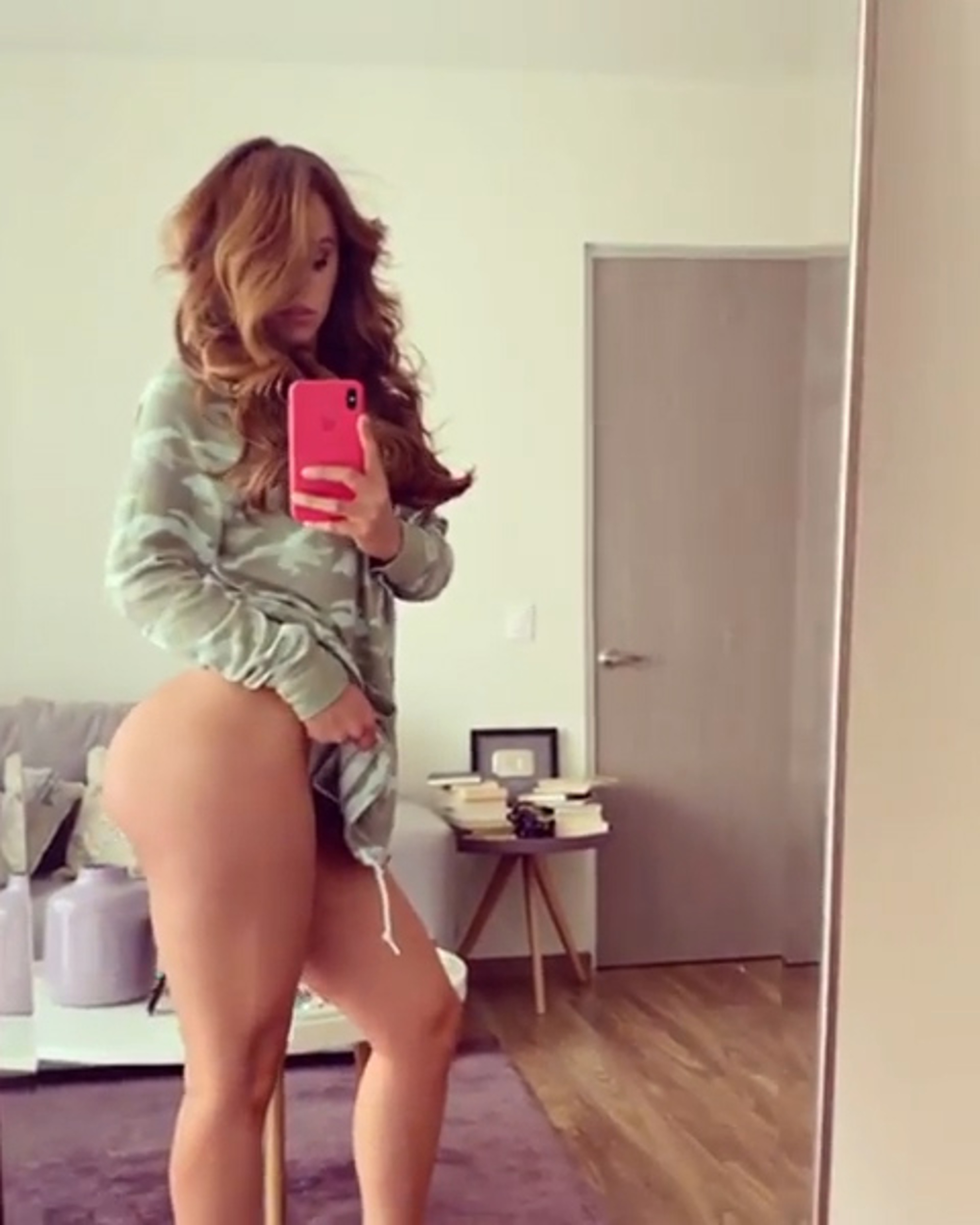 Yanet Garcia topless trying to hide her big boobs