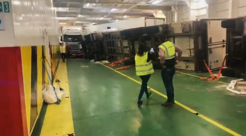 3 Lorries Overturn On Rocking Majorca Ferry During Storm