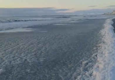 Waves Freeze On Shore Due To Extreme Cold