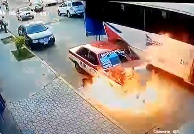 Women Passengers Scramble To Safety As Taxi Bursts Into Flames